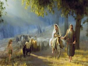 Postal: José y María de camino a Belén
