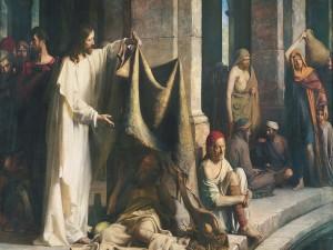 Postal: Jesús (Cristo) curando a los enfermos en Bethesda