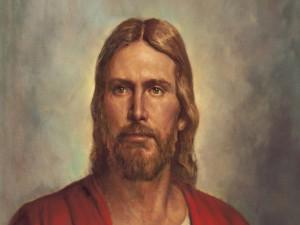 Retrato de Jesucristo con una túnica roja