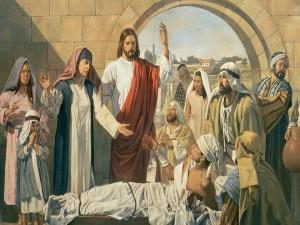 Postal: Jesús resucitando al hijo de la viuda de Naín