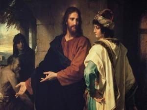Postal: Cristo y el joven rico