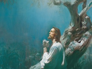Postal: Jesús ora en Getsemaní