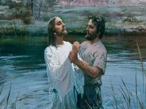 Postal: Juan el Bautista bautizando a Jesús
