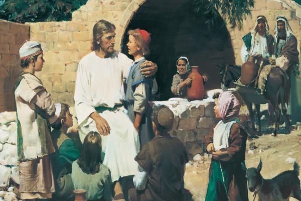 Jesús de Nazaret rodeado de niños