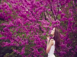 Mujer aspirando el aroma de las flores color púrpura