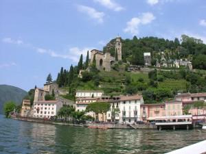 Postal: Lago de Lugano y la comuna de Morcote, Suiza