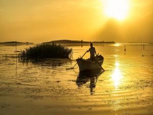 Un hombre remando en el lago con los últimos rayos de sol