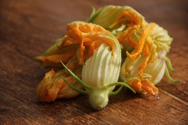 Flores de calabacín sobre la mesa