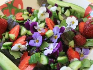 Ensalada con flores, fresas y pepino