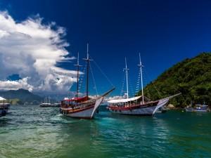 Barcos con turistas