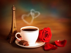 Postal: Café romántico