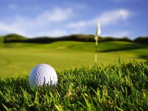 Pelota y bandera en el campo de golf