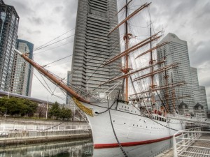 Postal: La nave Nippon Maru en el muelle