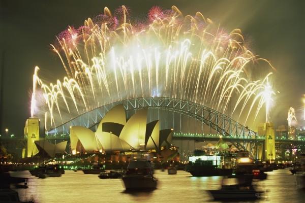 Fuegos artificiales en el puente de Sidney