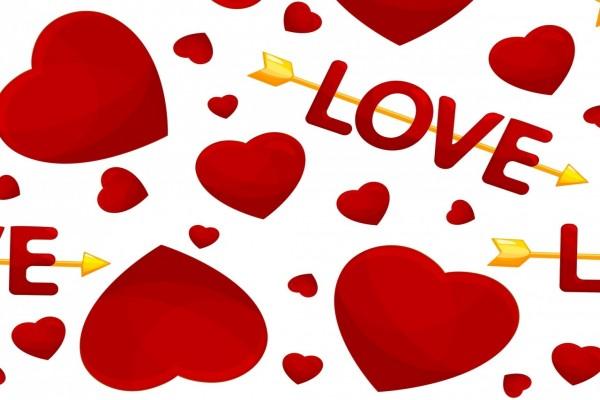 Amor con flechas y corazones