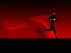 Postal: Silueta de un muchacho corriendo