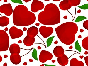 Textura con cerezas y corazones
