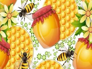 Postal: Dibujo con miel, abejas y panales