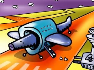 Dibujo de un avión en la pista de aterrizaje
