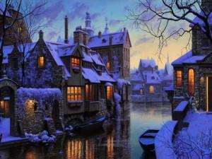 Postal: Canal con botes junto a casas cubiertas de nieve