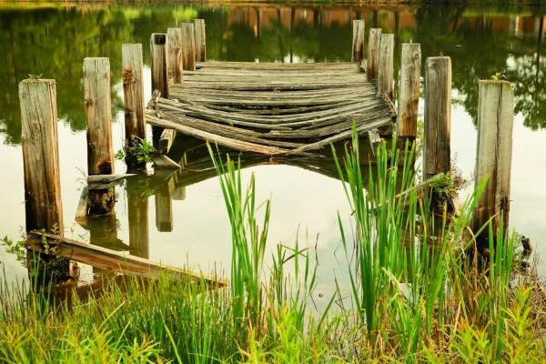 Muelle roto sobre un estanque