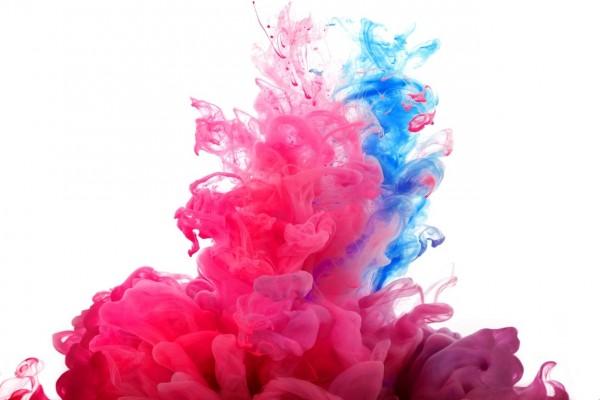 Pintura rosa y celeste
