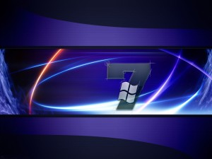 Postal: Logo de Windows sobre el 7