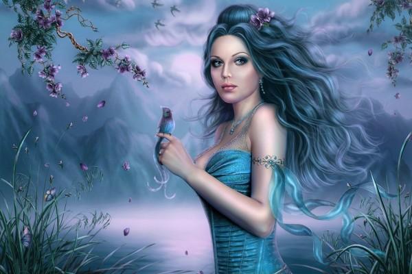 Bella mujer de pelo azul