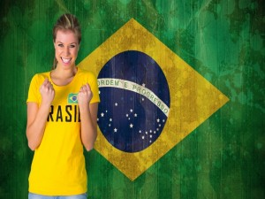 Una aficionada brasileña en el Mundial 2014