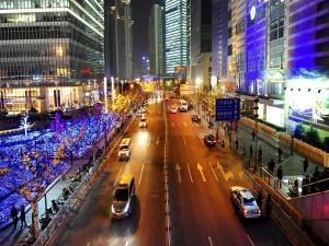 Postal: Calle en Shanghai, China
