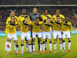 Jugadores de la Selección Colombiana antes del partido