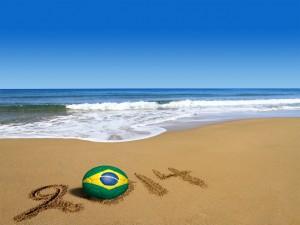 Postal: Playa y 2014, Mundial de Fútbol de Brasil