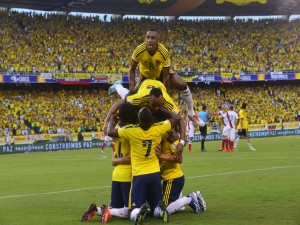 Felicidad de los jugadores de la Selección de Colombia