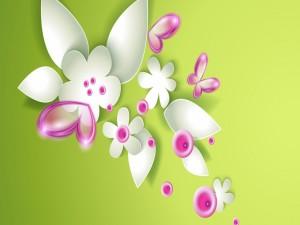 Flores, hojas y mariposas