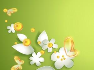 Postal: Mariposas amarillas, hojas y flores