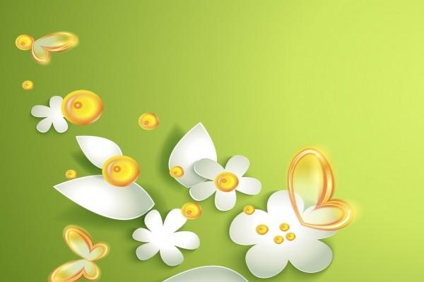 Mariposas amarillas, hojas y flores