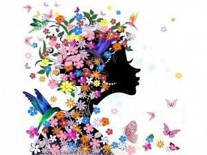Silueta de mujer cubierta de flores, mariposas y pajaritos