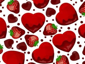 Dibujo con corazones y fresas
