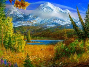 Postal: Naturaleza en el lago