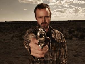 Postal: Jesse Pinkman apuntando con la pistola