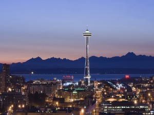 Anochecer en la ciudad de Seattle
