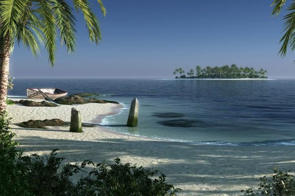 Isla con palmeras próxima a la costa
