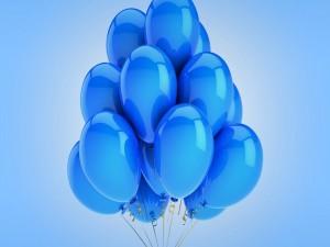 Conjunto de globos azules