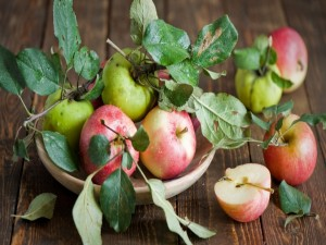 Manzanas rojas y verdes recién cortadas