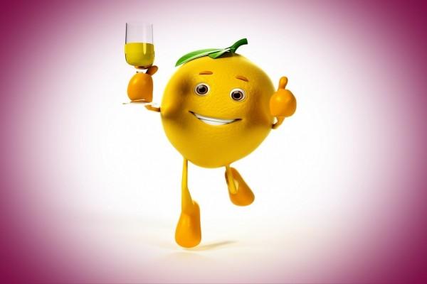 Limón corriendo con una copa