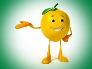 Postal: Un limón saludando