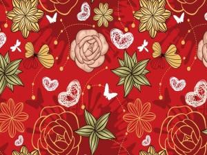 Dibujo con flores, mariposas y corazones