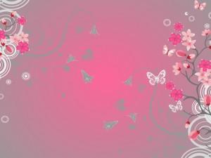 Flores y mariposas en un fondo rosa