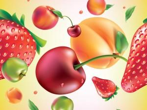 Postal: Dibujo con frutas