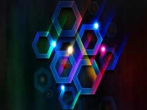 Hexágonos con luz y color